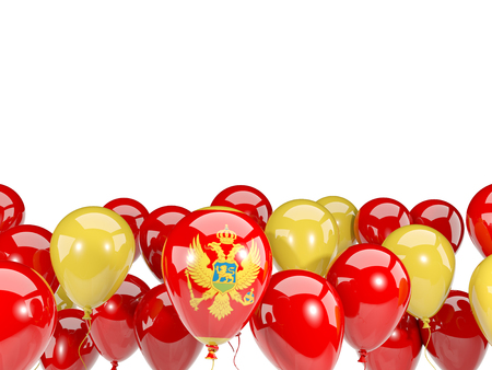 Flag of montenegro, with balloons isolated on white. 3D illustration Stock Photo