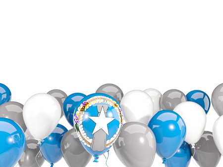 mariana: Flag of northern mariana islands, with balloons isolated on white. 3D illustration