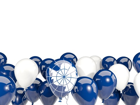 antarctica: Flag of antarctica, with balloons isolated on white. 3D illustration Stock Photo