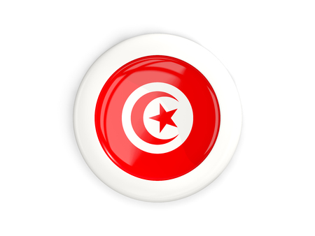 Flag of tunisia, glossy round button with white frame isolated on white. 3D illustration