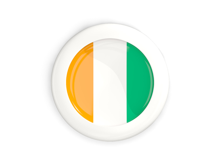 Flag of cote d Ivoire, glossy round button with white frame isolated on white. 3D illustration Stock Photo