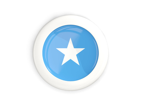 Flag of somalia, glossy round button with white frame isolated on white. 3D illustration