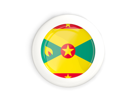 Flag of grenada, glossy round button with white frame isolated on white. 3D illustration Stock Photo