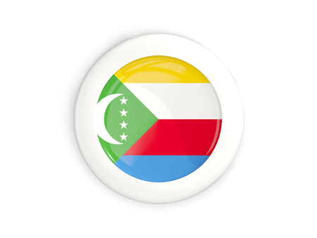 Flag of comoros, glossy round button with white frame isolated on white. 3D illustration Stock Photo