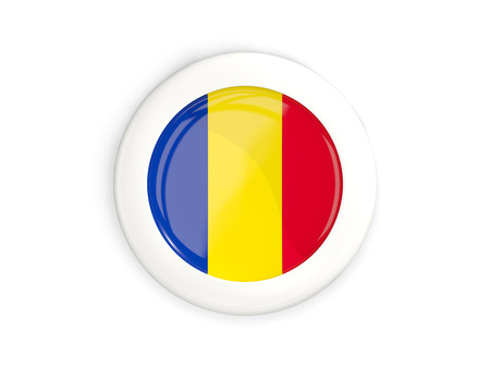 Flag of romania, glossy round button with white frame isolated on white. 3D illustration Stock Photo