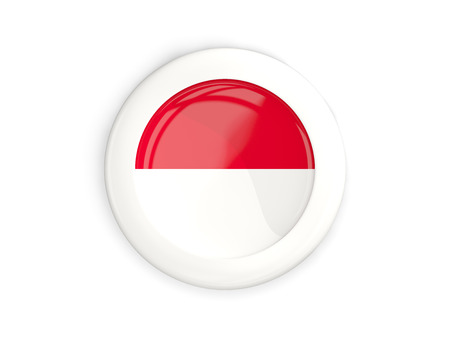 Flag Of Monaco, Glossy Round Button With White Frame Isolated ...