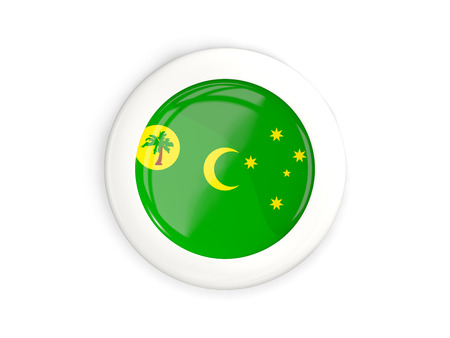 cocos: Flag of cocos islands, glossy round button with white frame isolated on white. 3D illustration