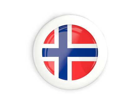 norway flag: Flag of norway, glossy round button with white frame isolated on white. 3D illustration