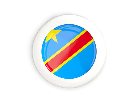 Flag of democratic republic of the congo, glossy round button with white frame isolated on white. 3D illustration