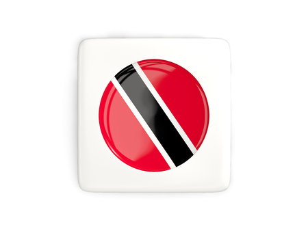 Square button with round flag of trinidad and tobago isolated on white. 3D illustration