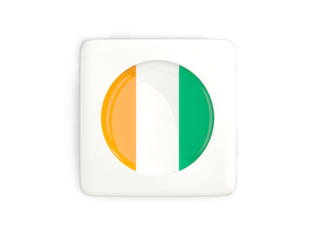 Square button with round flag of cote d Ivoire isolated on white. 3D illustration Stock Photo