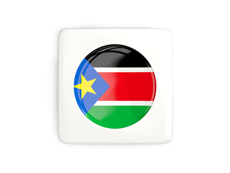south sudan: Square button with round flag of south sudan isolated on white. 3D illustration