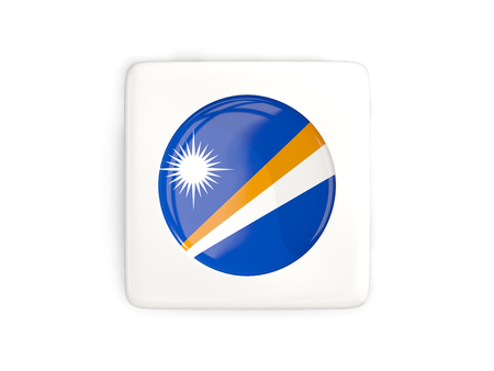 marshall: Square button with round flag of marshall islands isolated on white. 3D illustration Stock Photo