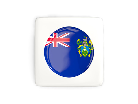 pitcairn: Square button with round flag of pitcairn islands isolated on white. 3D illustration