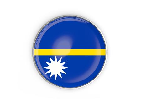 Flag of nauru, round icon with metal frame isolated on white. 3D illustration Stock Photo
