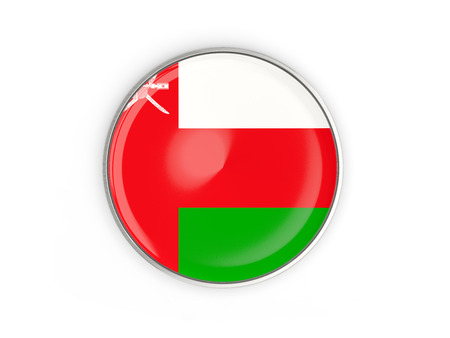 Flag of oman, round icon with metal frame isolated on white. 3D illustration