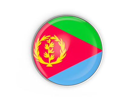 Flag of eritrea, round icon with metal frame isolated on white. 3D illustration