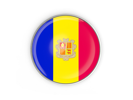 Flag of andorra, round icon with metal frame isolated on white. 3D illustration Stock Photo