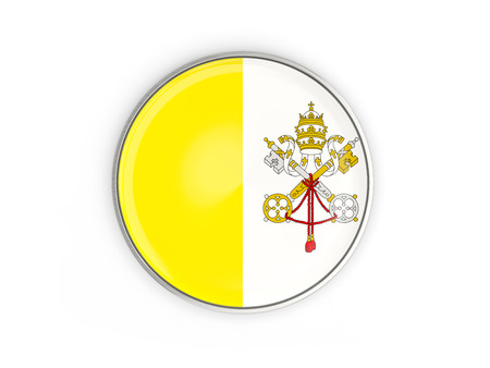 Flag of vatican city, round icon with metal frame isolated on white. 3D illustration