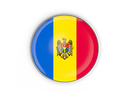 Flag of moldova, round icon with metal frame isolated on white. 3D illustration