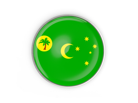cocos: Flag of cocos islands, round icon with metal frame isolated on white. 3D illustration