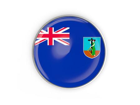 montserrat: Flag of montserrat, round icon with metal frame isolated on white. 3D illustration