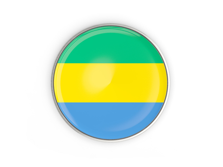 Flag of gabon, round icon with metal frame isolated on white. 3D illustration Stock Photo