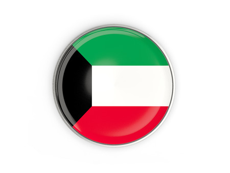 Flag of kuwait, round icon with metal frame isolated on white. 3D illustration Stock Photo