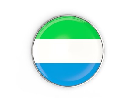 Flag of sierra leone, round icon with metal frame isolated on white. 3D illustration