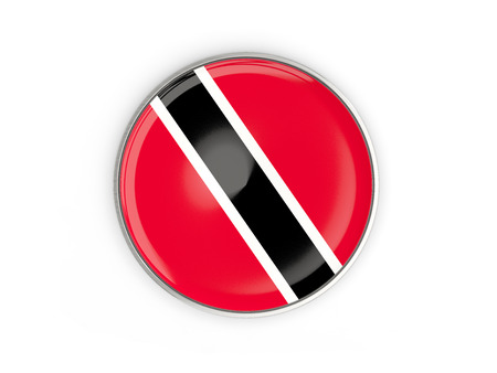 Flag of trinidad and tobago, round icon with metal frame isolated on white. 3D illustration