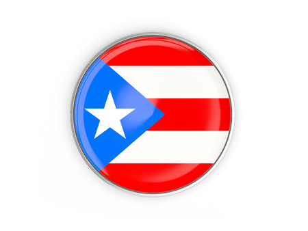 bandera de puerto rico: Flag of puerto rico, round icon with metal frame isolated on white. 3D illustration Foto de archivo