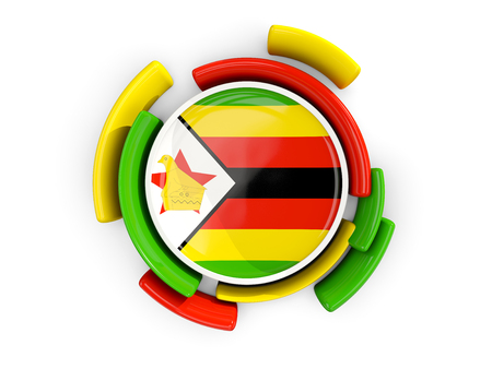 Round flag of zimbabwe with color pattern  isolated on white. 3D illustration