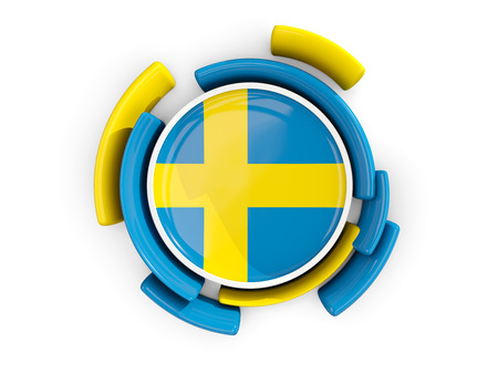 bandera de suecia: Round flag of sweden with color pattern  isolated on white. 3D illustration