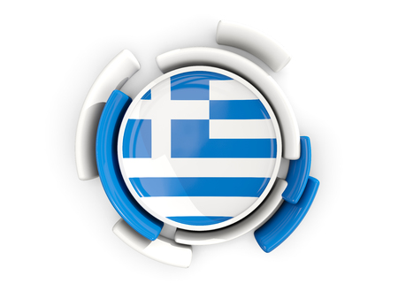 Round flag of greece with color pattern  isolated on white. 3D illustration