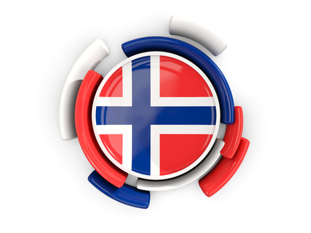 norway flag: Round flag of norway with color pattern  isolated on white. 3D illustration