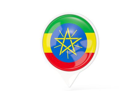 national flag ethiopia: Round white pin with flag of ethiopia isolated on white. 3D illustration Stock Photo