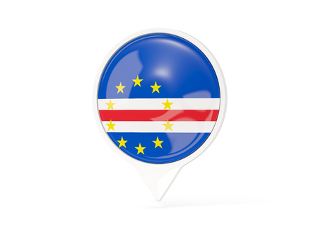 verde: Round white pin with flag of cape verde isolated on white. 3D illustration Stock Photo