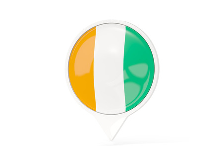 Round white pin with flag of cote d Ivoire isolated on white. 3D illustration