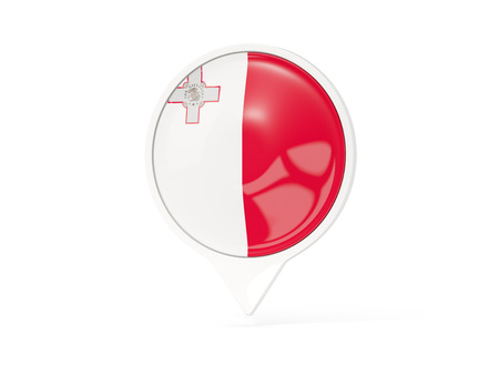 malta: Round white pin with flag of malta isolated on white. 3D illustration Stock Photo
