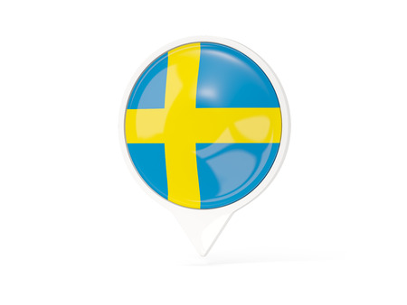 Round white pin with flag of sweden isolated on white. 3D illustration Stock Photo