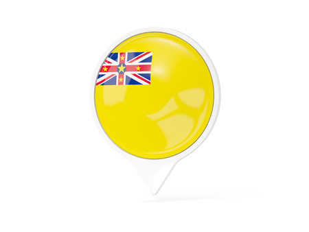 Round white pin with flag of niue isolated on white. 3D illustration