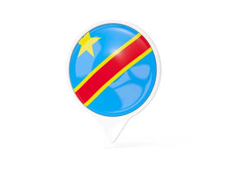 Round white pin with flag of democratic republic of the congo isolated on white. 3D illustration Stock Photo