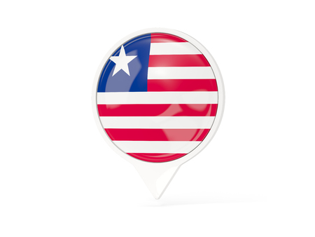 Round white pin with flag of liberia isolated on white. 3D illustration Stock Photo