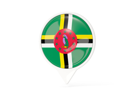 Round white pin with flag of dominica isolated on white. 3D illustration Stock Photo