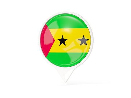 Round white pin with flag of sao tome and principe isolated on white. 3D illustration