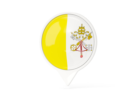 vatican city: Round white pin with flag of vatican city isolated on white. 3D illustration