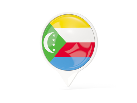 Round white pin with flag of comoros isolated on white. 3D illustration Stock Photo