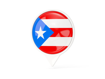 bandera de puerto rico: Round white pin with flag of puerto rico isolated on white. 3D illustration Foto de archivo