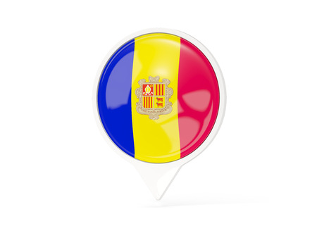 Round white pin with flag of andorra isolated on white. 3D illustration