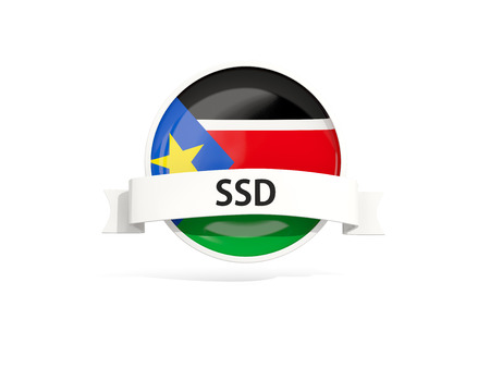 south sudan: Flag of south sudan with banner and country code isolated on white. 3D illustration